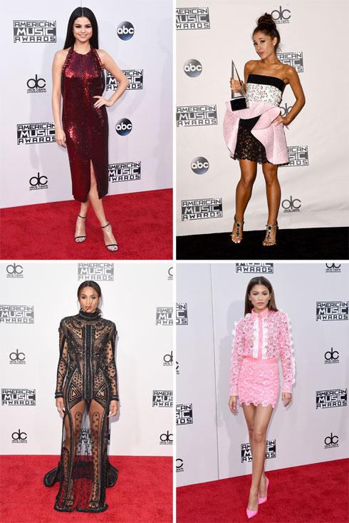 שמלות חושפניות וחסרות אמירה. סלינה גומז, אריאנה גרנדה, זנדאיה וסיארה (צילום: gettyimages)