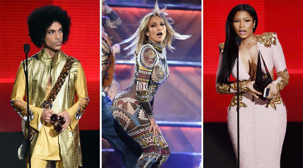 הכוכבים הגדולים של המוזיקה האמריקאית על במה אחת. ניקי מינאז', ג'ניפר לופז ופרינס (צילום: gettyimages)