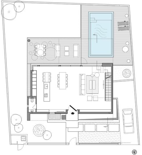 תוכנית קומת הכניסה: מלבן פתוח (תכנית: שחר- רוזנפלד אדריכלים )