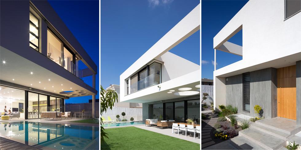 בני הזוג ביקשו מהאדריכלים לבנות בית בסגנון עכשווי, בקווים נקיים ובלי מניירות. מלפנים (בתמונה מימין) הוא סגור יחסית, ומאחור פתוח (צילום: שי אפשטיין)