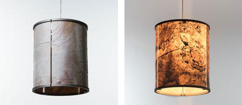 מנורה משכבה דקה של אבן צפחה. החומר מיועד גם לחיפוי קירות (צילום: THOMAS)