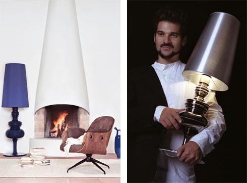מימין חיימה חיון עם מנורת ''גוזפיו'' המפורסמת שלו. משמאל הגרסה העומדת החדשה (באדיבות לייטהאוס)