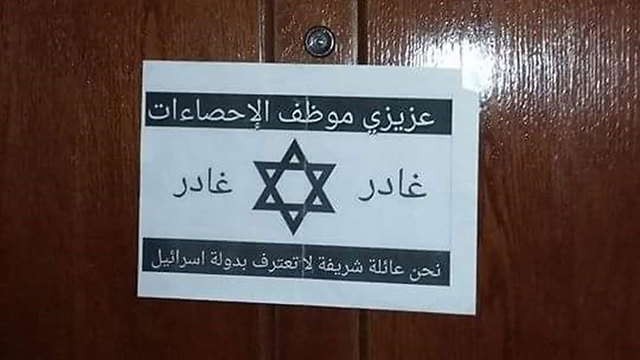 """Sign on door stating:""""We are a respectable family and don't recognize the State of Israel"""""""