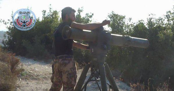 Screenshot from a video apparently showing a Free Syrian Army preparing to fire at a Russian helicopter.