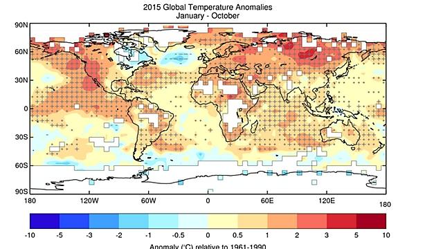 """השינוי בטמפרטורות ב-2015 (מתוך אתר האו""""ם) (מתוך אתר האו"""