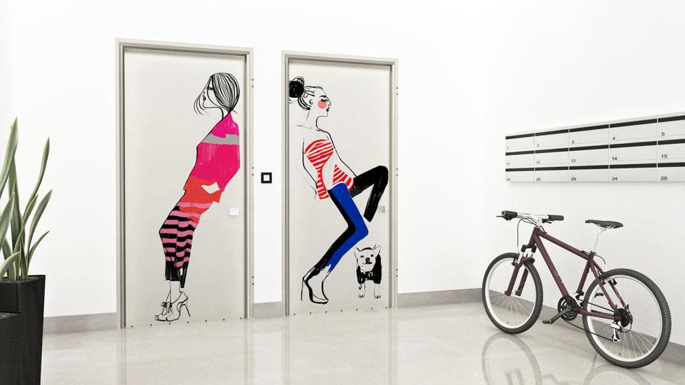 ''רשפים'' משיקה קו חדש של דלתות מאוירות. בתמונה דלת עם איור של שירה ברזילי, אולם החברה יכולה להדפיס כל איור שיימסר לה (איור: שירה ברזילי)