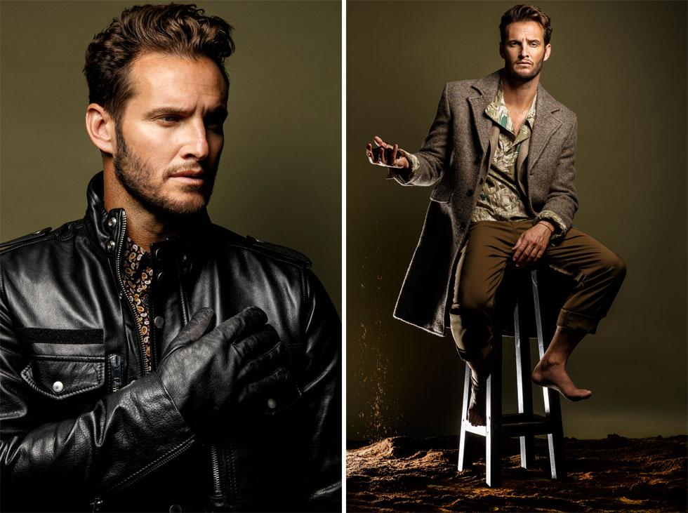 מימין: מכנסיים וז'קט, H&M; חולצה, רנואר; מעיל, טומי הילפיגר. משמאל: מעיל, דיזל; חולצה, רנואר; כפפות, מאוסף פרטי (צילום: דניאל קמינסקי )