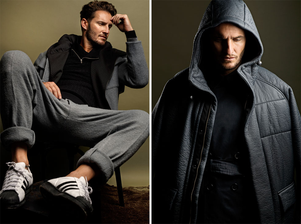 מימין: מעיל עליון, H&M; מעיל תחתון, ברברי. משמאל: חליפה, H&M; וסט וחולצה, רנואר; נעליים, אדידס (צילום: דניאל קמינסקי )