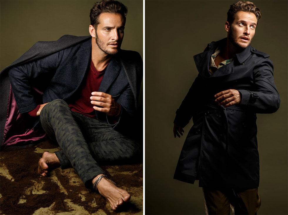 מימין: מעיל, ברברי; חולצה, רנואר; מכנסיים, H&M. משמאל: מכנסיים, רנואר; סריג, H&M; ז'קט, טומי הילפיגר; מעיל, דיזל (צילום: דניאל קמינסקי )
