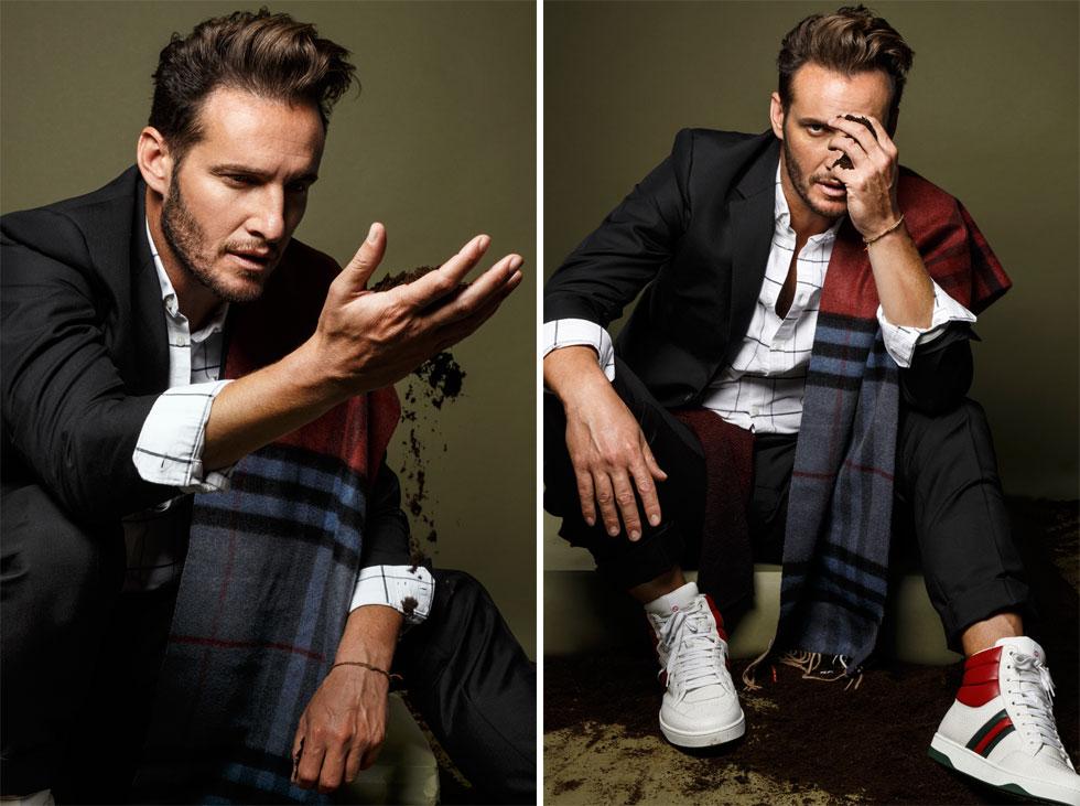 חליפה וסניקרס, גוצ'י; חולצה, H&M; צעיף, ברברי (צילום: דניאל קמינסקי )