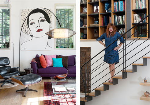 מימין: מיכל שלו, שהציורים שלה מעטרים את הקירות (משמאל) (צילום: גדעון לוין )