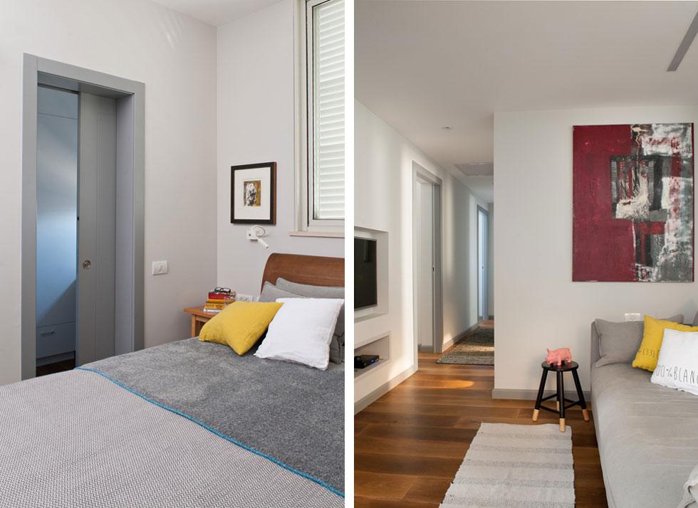 מימין: בהמשך לפינת הטלוויזיה הדלתות שנפתחות לחדרי השינה והרחצה. משמאל: חדר ההורים וחדר הארונות הצמוד לו, שבו תוכננה פינת עבודה לאם (צילום: גלית דויטש)