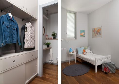 מימין: אחד משלושת חדרי הילדים. משמאל: ארון המעילים במבואת הכניסה לשירותי האורחים (צילום: גלית דויטש)