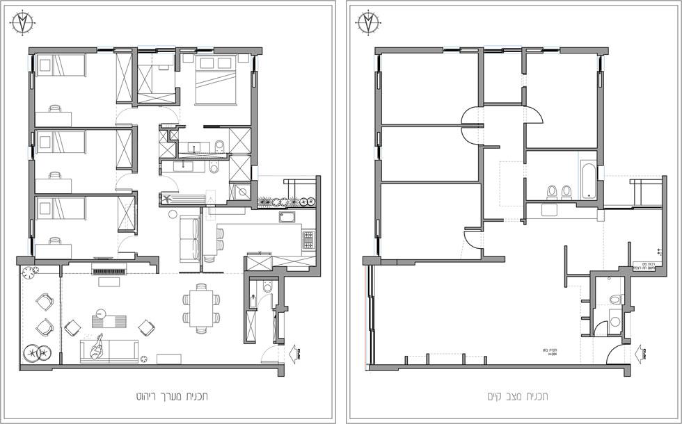 """מימין: תוכנית הדירה """"לפני"""". במבואת הכניסה של שירותי האורחים היה כיור, שלושת חדרי הילדים לא היו זהים בגודלם, בחדר ההורים לא היה חדר רחצה ובסלון לא היתה מרפסת. משמאל: התוכנית """"אחרי"""". המבואה משמשת כארון, החדרים זהים בגודלם, נוספה פינת רחצה להורים ונפתחה מרפסת לסלון (באדיבות ורד בונפיליולי )"""