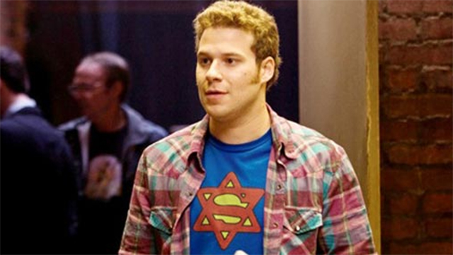 Seth Rogen wearing a 'Super-Jew' t-shirt in 'Funny People'