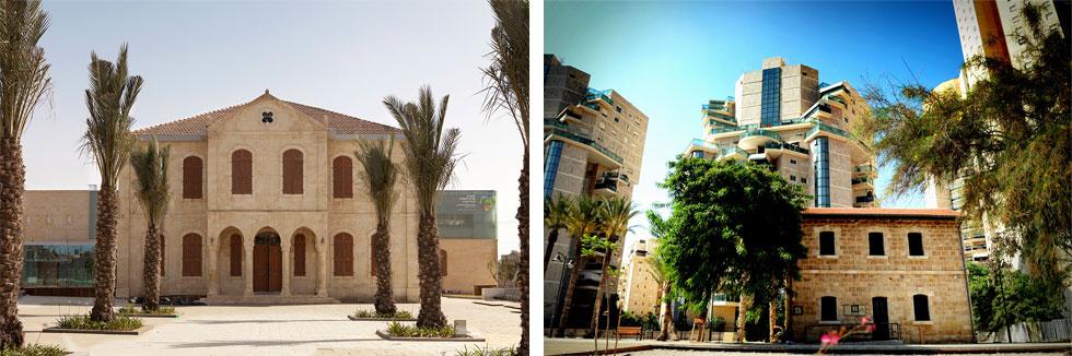 שני מבנים עותמניים סמוכים: מימין, תחנת הרכבת שהפכה למתחם תיירות; משמאל: מוזיאון המדע (לחצו על התמונה) (צילום: אייל תגר, אבי פז)