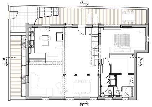 תוכנית קומת הכניסה. משמאל מרחב גדול ופתוח, מימין האגף הפרטי (באדיבות אדריכלית אפרת זילברמן)