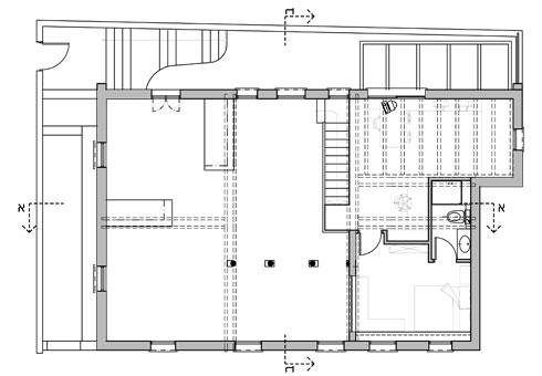 תוכנית קומת הגלריה (מימין, מעל האגף הפרטי בקומת הכניסה), עם חדר עבודה וחדר שינה נוסף (באדיבות אדריכלית אפרת זילברמן)
