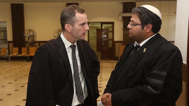 David Halevi and Itamar Ben Gvir in court (Photo: Gil Yochanan)
