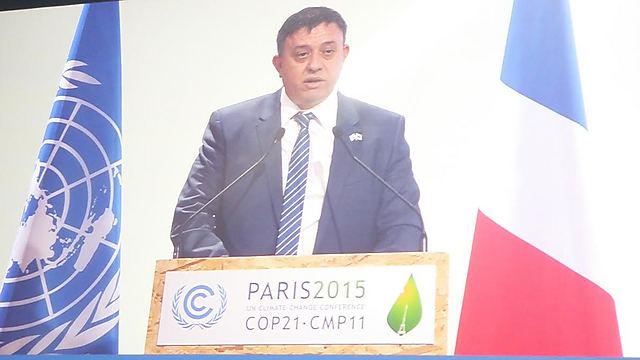 השר גבאי בנאומו בוועידת האקלים (צילום: המשרד להגנת הסביבה) (צילום: המשרד להגנת הסביבה)