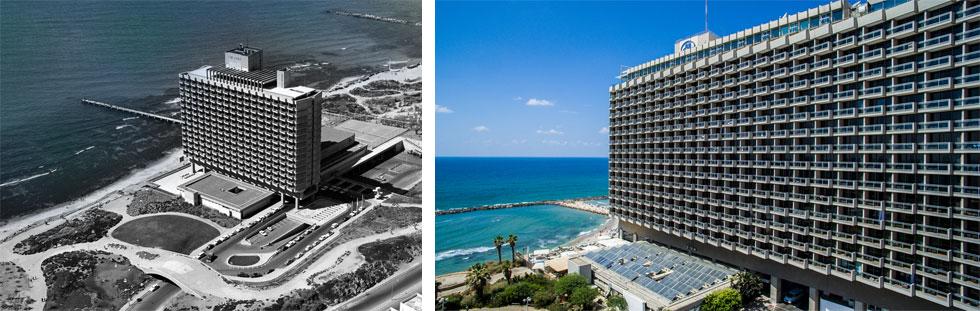 האדריכל יעקב רכטר הצליח להטמיע את הבניין המאסיבי בנוף. הוא ניצב לקו החוף ואינו מסתיר אותו באלימות (צילום: (ימין) איתי סיקולסקי, (שמאל) באדיבות ארכיון הילטון)