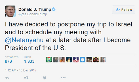 Trump's tweet announcing his decision to postpone visit.