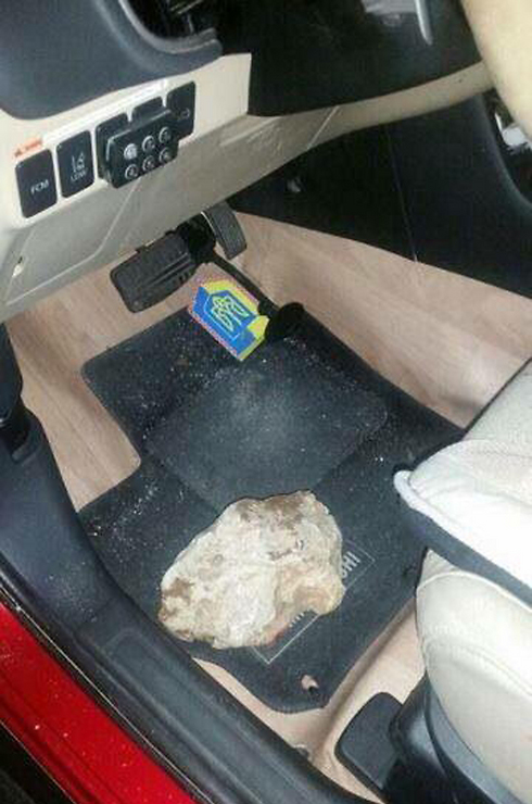 The rock hurled at the car (Photo: TPS)