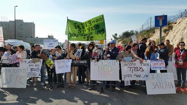 הפגנת מורי הדרך בירושלים (צילום: אלי מנדלבאום)