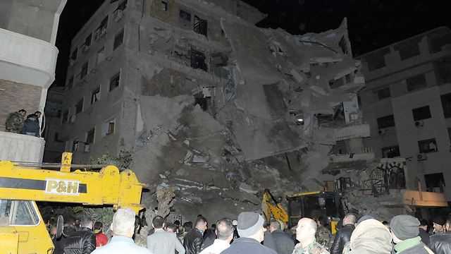 The building bombed in Jaramana in Syria, where Kuntar was hiding (Photo: AFP)