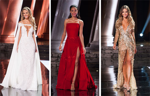 "הפיינליסטיות. מימין לשמאל: מיס אוסטרליה, מיס צרפת ומיס ארה""ב (צילום: Patrick Prather)"