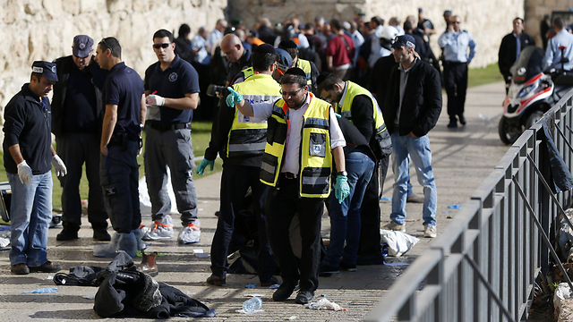The scene of the attack at the Jaffa Gate (Photo: AFP)