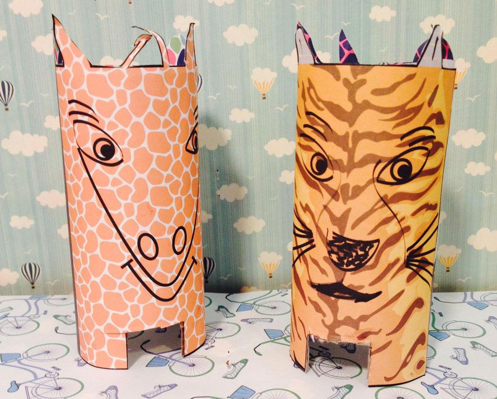 חיות למשחק ממחזור של גלילי נייר טואלט (צילום: באדיבות מגזין חלבלוב)