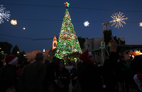 A giant Christmas tree in Bethlehem (Photo: AFP) (Photo: AFP)