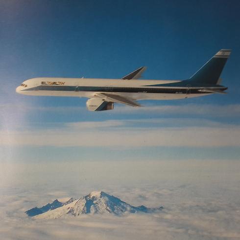 """מטוס בואינג 757 של אל על בטיסת מבחן, 1987 (צילום: באדיבות אל על) (מתוך הספר """"אלעל star in the sky"""", מאת מרווין ג'י גולדמן) (מתוך הספר"""
