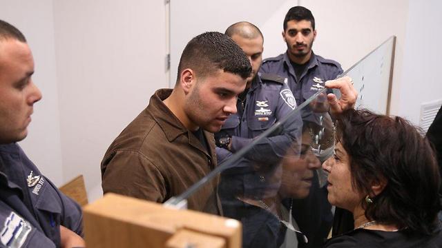 Nur al-Din Hashiyah, the terrorist who murdered Sgt. Almog Shiloni, at his trial (Photo: Moti Kimhi)