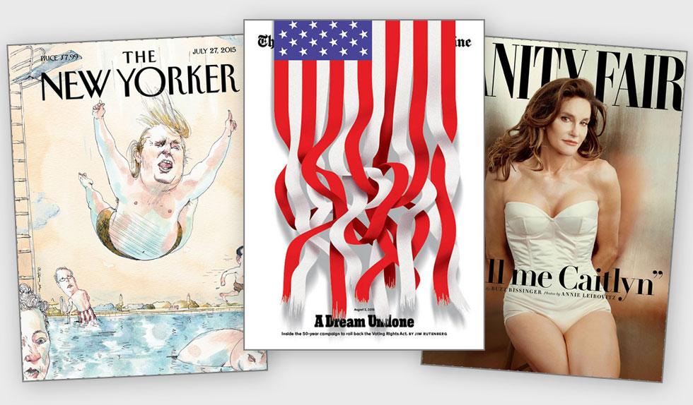 קייתלין ג'נר על השער של ואניטי פייר; האומץ של ניו יורק טיימס לגזור את דגל ארה''ב; דונלד טראמפ קופץ לבריכה כמו ילד ומתיז לכל עבר בשער הניו יורקר