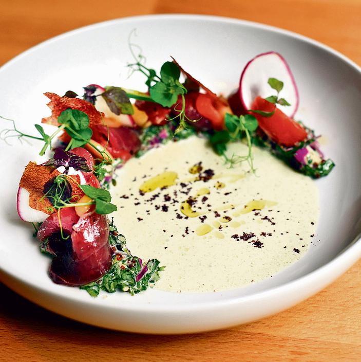 Mediterranean sashimi (Photo: Michael Tulipan)