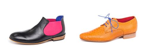 נעלי דרבי בגימור קרוקו לגברים, 850 שקל; מגפוני צ'לסי לגברים, 980 שקל (צילום: דדי אליאס)