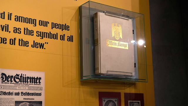 A copy of 'Mein Kampf,' Hitler's anti-Semitic rant, which he wrote from prison in the early 1920s, is seen displayed at the Yad Vashem Holocaust Museum in Jerusalem (Photo: AFP)