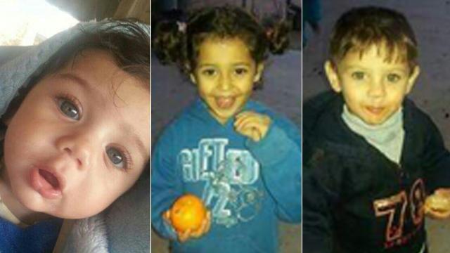 שלושת הילדים שמתו בשריפה. הוריהם היו בבית הסמוך ()