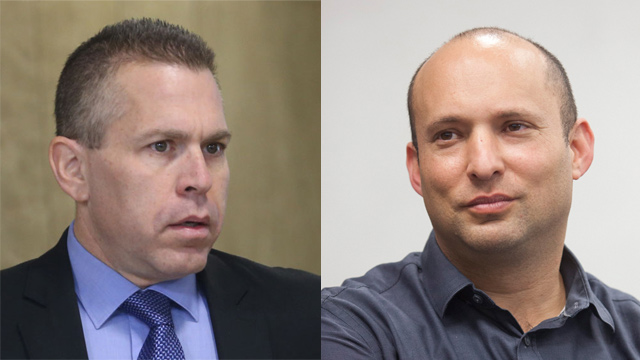 Ministers Naftali Bennett (R) and Gilad Erdan, who are leading the hawkish line in the government  (Photos: Alex Kolomoisky, Moti Milrod)