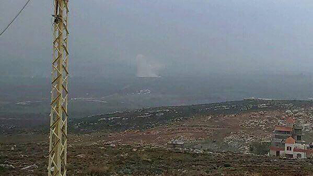 An explosion seen in the distance from the Lebanese border