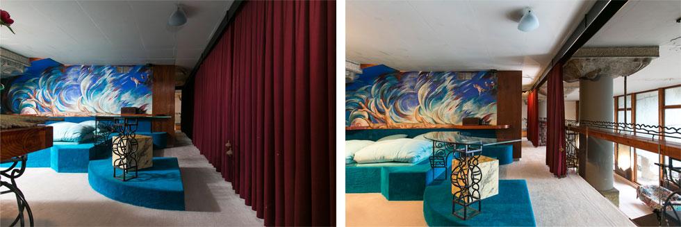 וילון אדום כבד כמו באולם תיאטרון מפריד בין חדר השינה בקומת הגלריה לבין הסלון למטה. פתוח וסגור לסירוגין (צילום שירן כרמל)