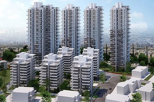 הדמיית הפרויקט. תוספת של 584 דירות (הדמיה: יוסי רצ'בסקי, קבוצת גבאי)
