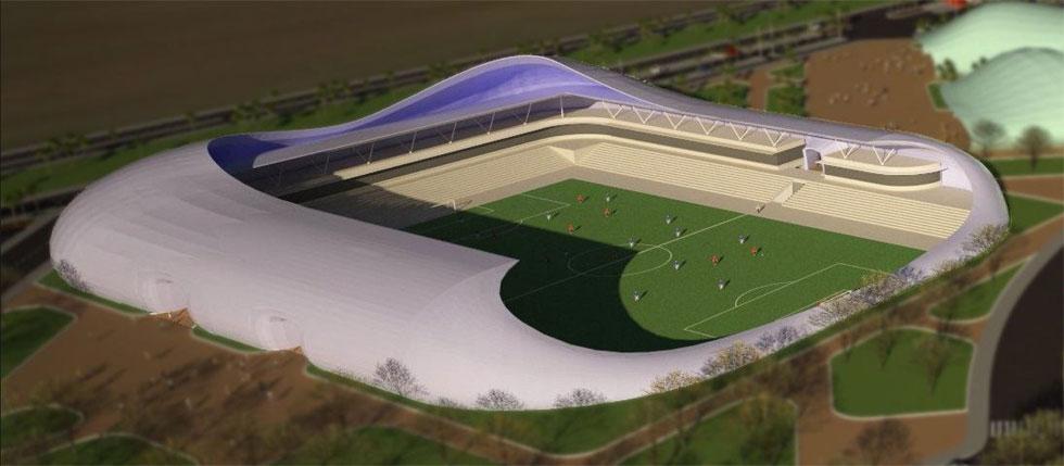 האצטדיון מתוכנן כאמפיתיאטרון. ''היה לנו חשוב'', אומר האדריכל, ''ליצור מקום סגור שעוטף את המשחק, כדי שהקהל ירגיש את הביחד'' (תכנון: בודק אדריכלים)