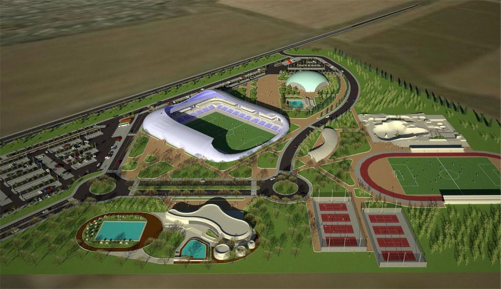 מיקום האצטדיון בתוך קריית הספורט החדשה של טבריה. איפשהו, בעשור הבא, אמורה להיות כאן תחנת רכבת. עד אז, האוהדים יצטרכו להגיע ברכב (תכנון: בודק אדריכלים)