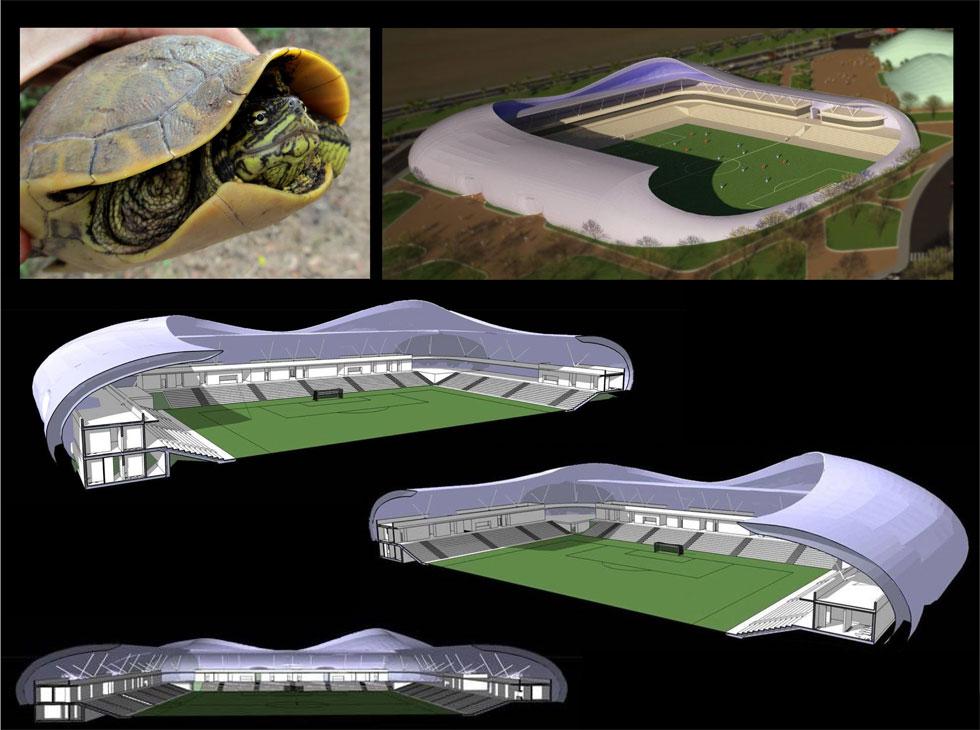 לבייג'ין יש אצטדיון ''קן לציפור'', ולטבריאנים יש צב ששימש כהשראה. הצלעות נקשרות לעמודי השדרה, ובמרווחים ביניהם רואים את המילוי שמשלים את המעטפת (תכנון: בודק אדריכלים)