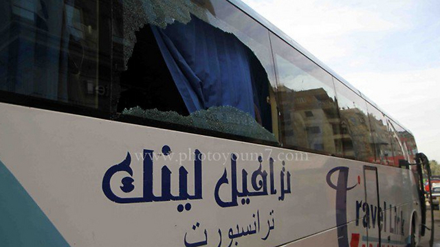 The tourist bus attacked by masked gunmen in Cairo