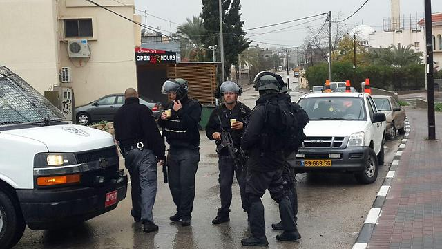 Security forces in Melhem's home town of Arara (Photo: Hassan Shaalan)