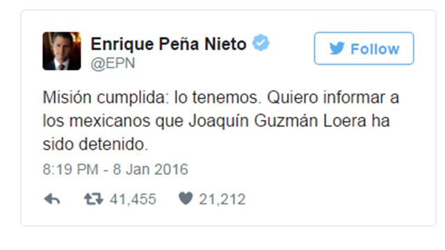 """""""המשימה הושלמה"""". הציוץ של נשיא מכסיקו (צילום: מתוך טוויטר) (צילום: מתוך טוויטר)"""